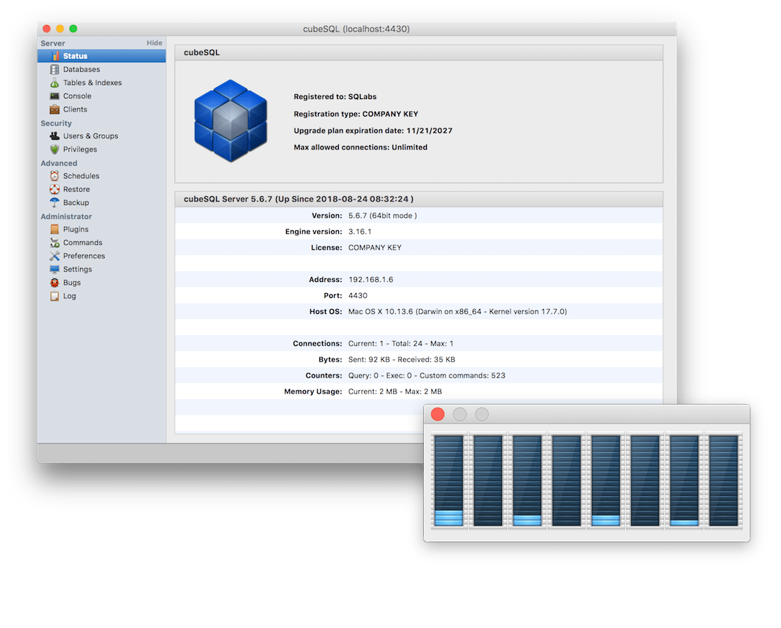 cubeSQL: A fully featured and high performance relational